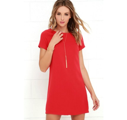 Shift and Shout Red Shift Dress