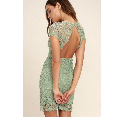 Hidden Talent Backless Sage Green Lace Dress