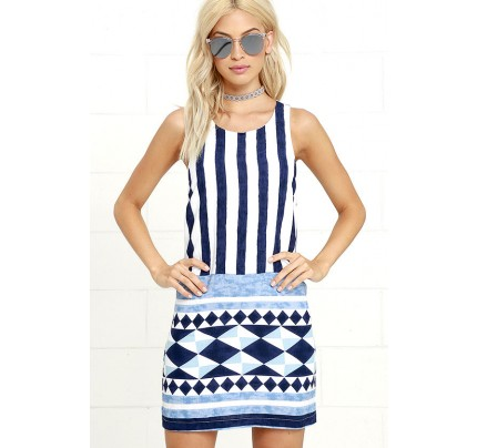 Multitask-Queen Ivory and Blue Print Shift Dress