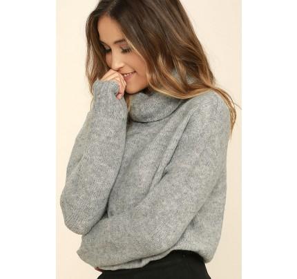 Favorite Dream Heather Grey Turtleneck Sweater