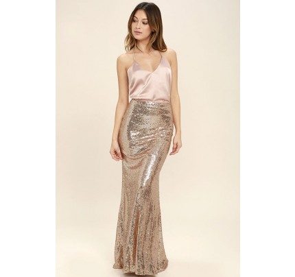 Effervescent Evening Gold Sequin Maxi Skirt