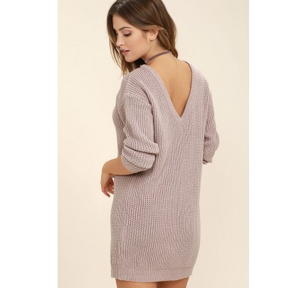 Bringing Sexy Back Mauve Backless Sweater Dress