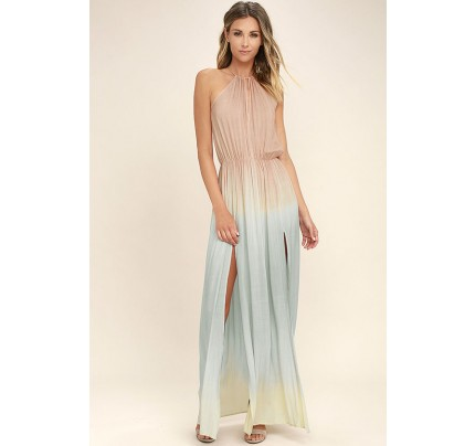 Sweet Sunset Blush Pink Dip-Dye Maxi Dress