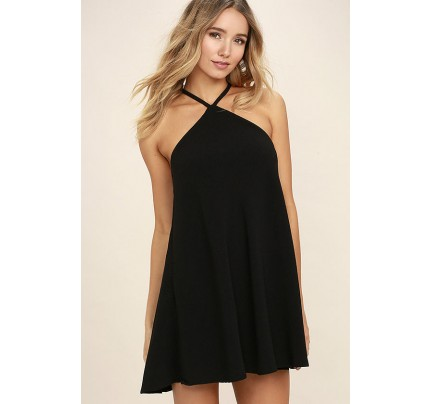 High Gear Black Shift Dress