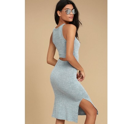 Stunning View Heather Blue Bodycon Midi Dress