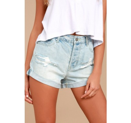 Hermosa Light Wash Distressed High Waisted Shorts