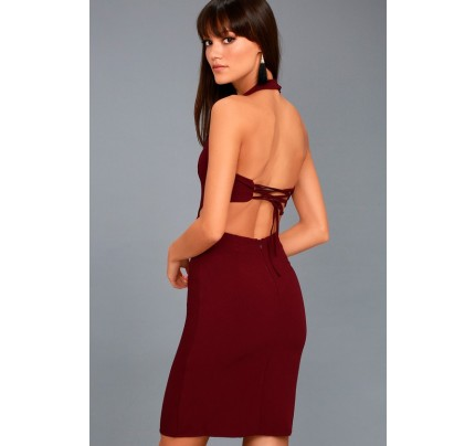 Uniquely Chic Burgundy Bodycon Halter Dress