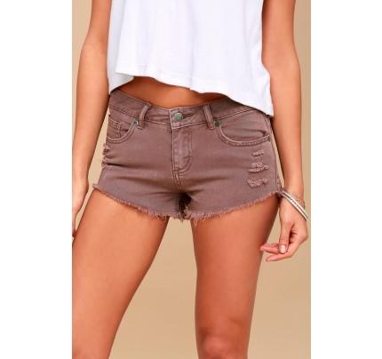 Hello Mellow Mauve Distressed Denim Shorts