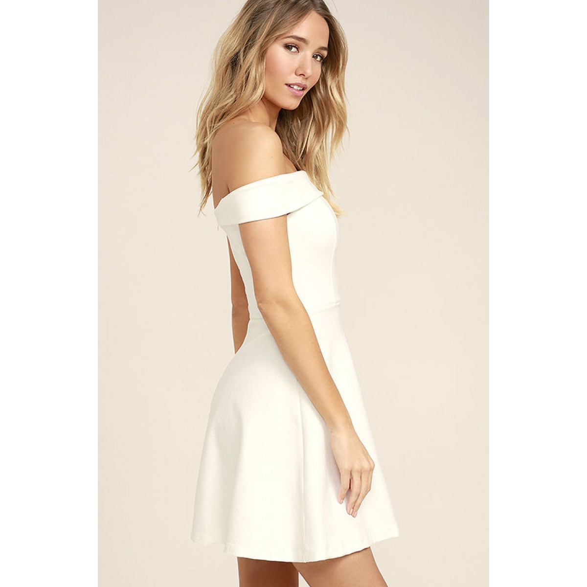 Be the first to review this product.  52.00.  52.00Availability  In stock.  Season of Fun White Off-the-Shoulder Skater Dress d27c3e3fe