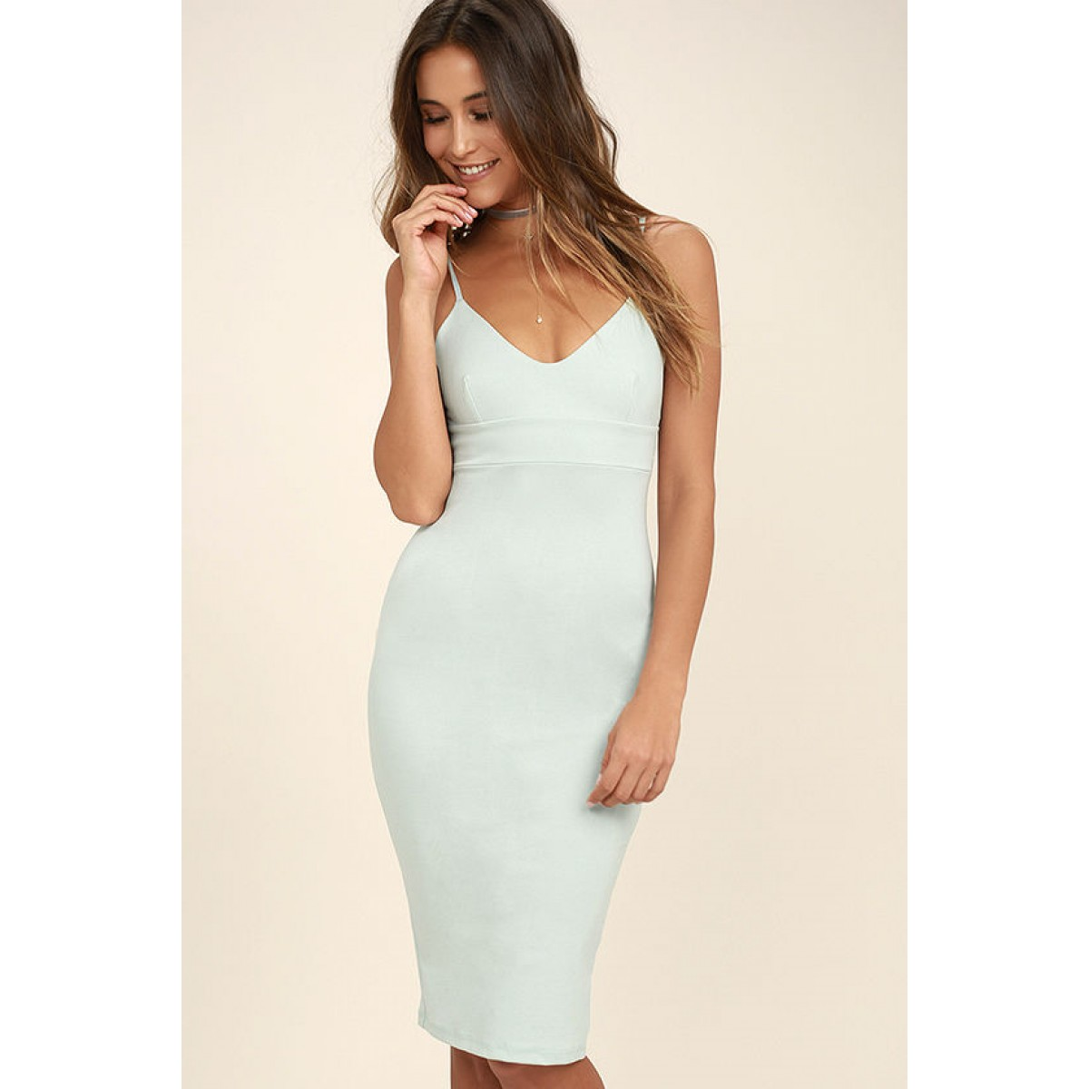 Don t Tell  Em Light Blue Bodycon Midi Dress e60fa15121ac