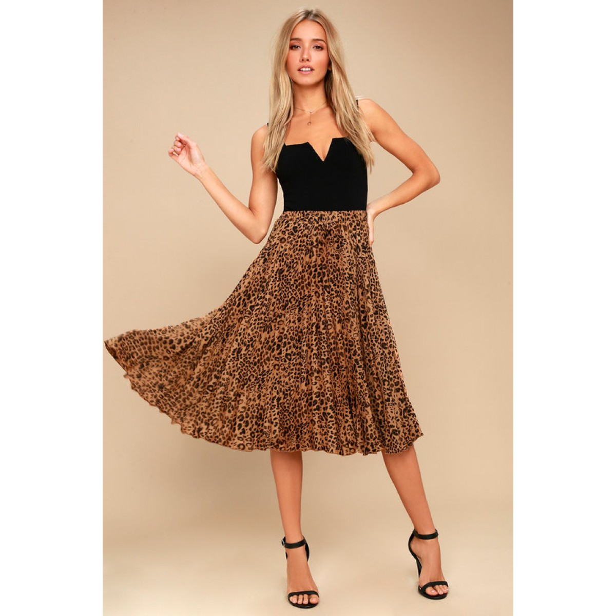Roxie Leopard Print Pleated Midi Skirt 49bd2544a