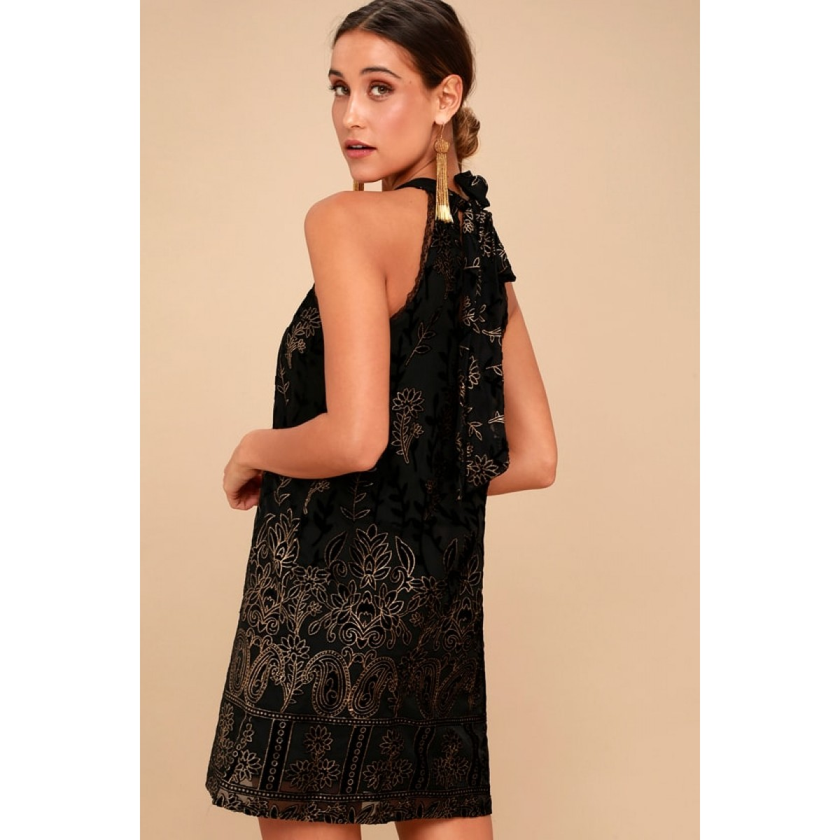 Be the first to review this product.  155.00.  155.00Availability  In  stock. Merci Gold and Black Velvet Floral Print Halter Dress 309d3c1f1