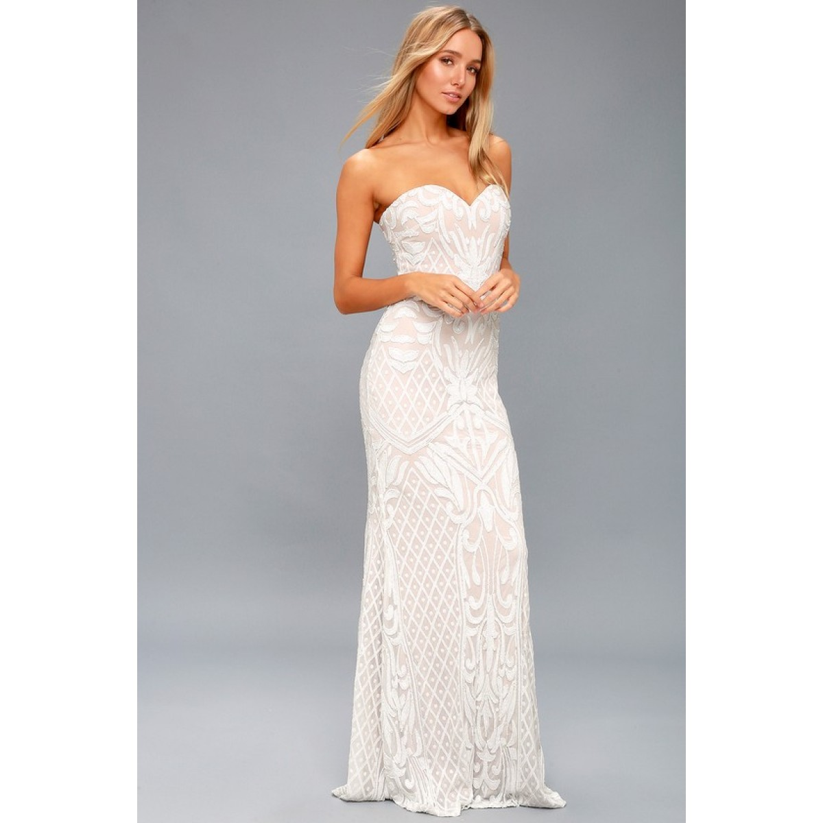 Olivia White Sequin Strapless Maxi Dress - Lulus