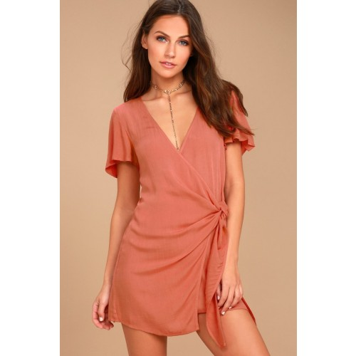 Vashti Rusty Rose Wrap Dress - Lulus