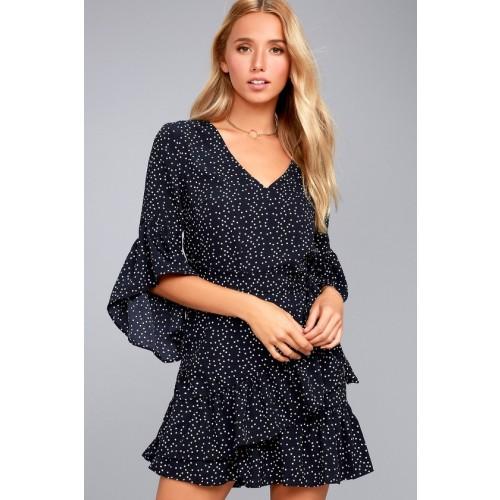 Whole Heart Navy Blue Polka Dot Wrap Dress