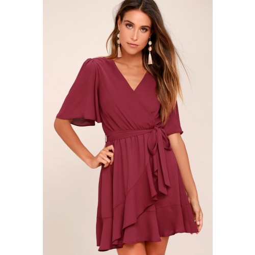 Absolute Affection Burgundy Wrap Dress