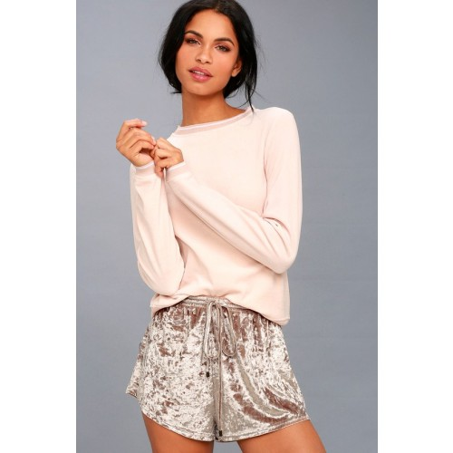 Lounge Life Taupe Velvet Shorts