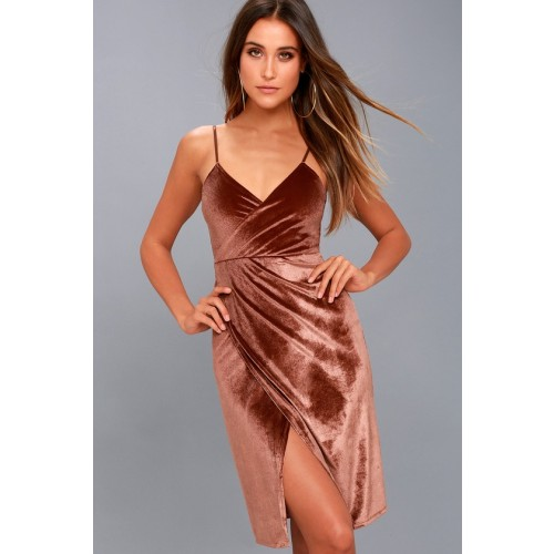 Honey Love Rusty Rose Velvet Bodycon Wrap Dress