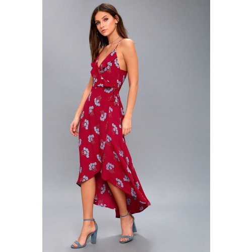 Alter Your Mood Red Floral Print High-Low Wrap Dress