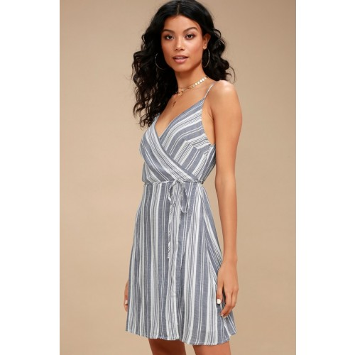 Pont Marie Blue and White Striped Wrap Dress - Lulus
