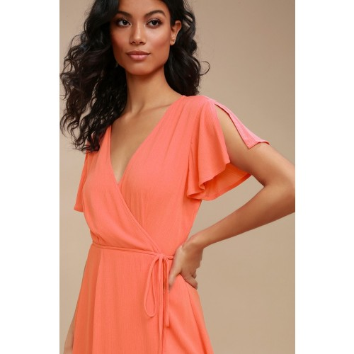 Harbor Point Coral Pink Wrap Dress - Lulus