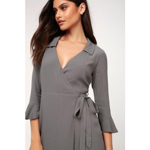 Cardwell Grey Flounce Sleeve Wrap Dress - Lulus