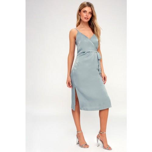 Fall in Love Mint Blue Satin Midi Wrap Dress - Lulus