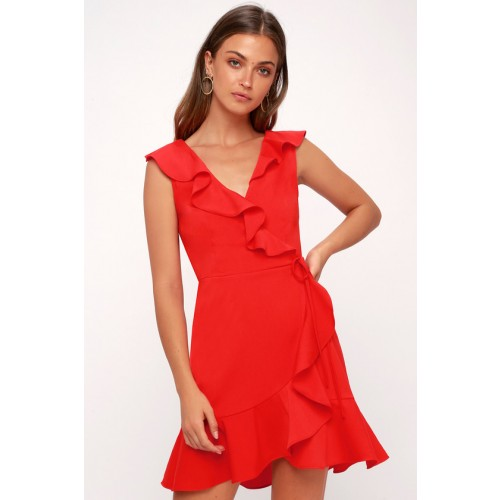 Jennessa Red Ruffled Wrap Dress - Lulus