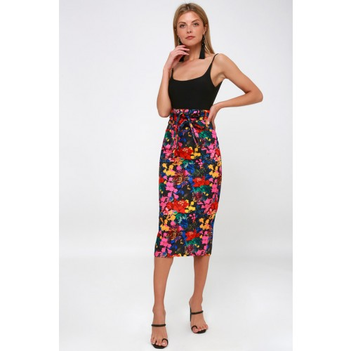 Villanelle Black Multi Floral Print Pencil Skirt - Lulus