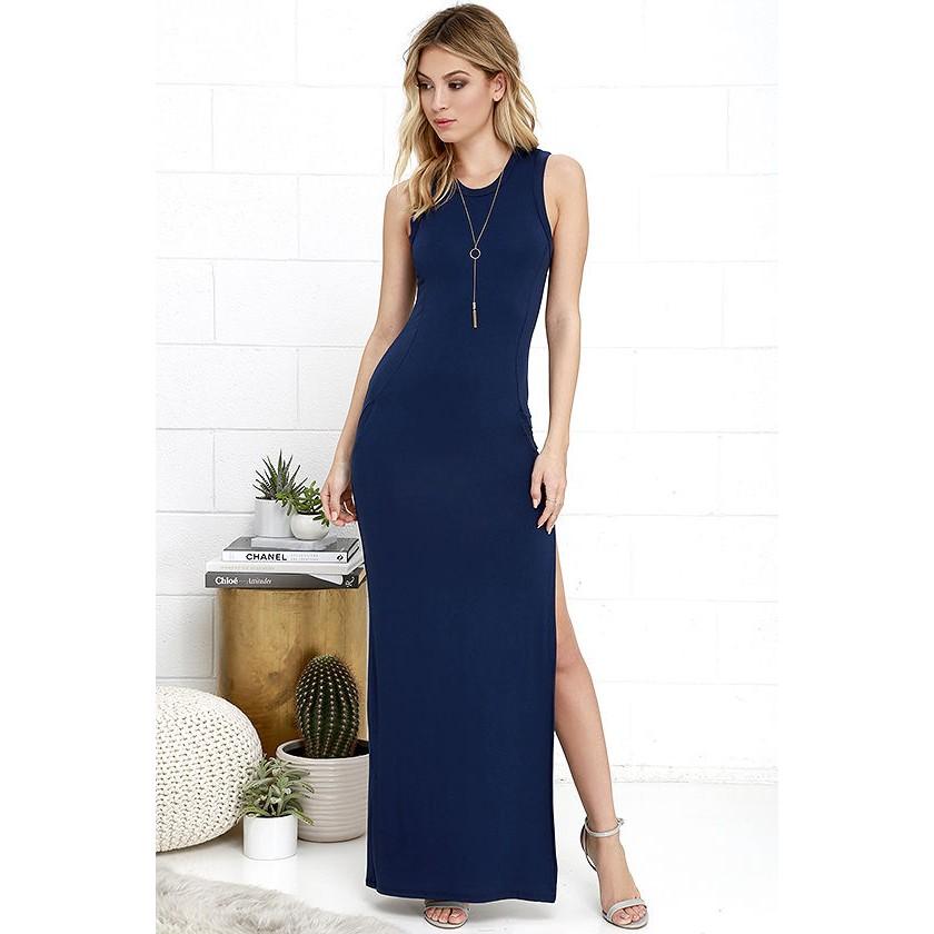 156131fc7003b6 Shield and Sword Navy Blue Sleeveless Maxi Dress
