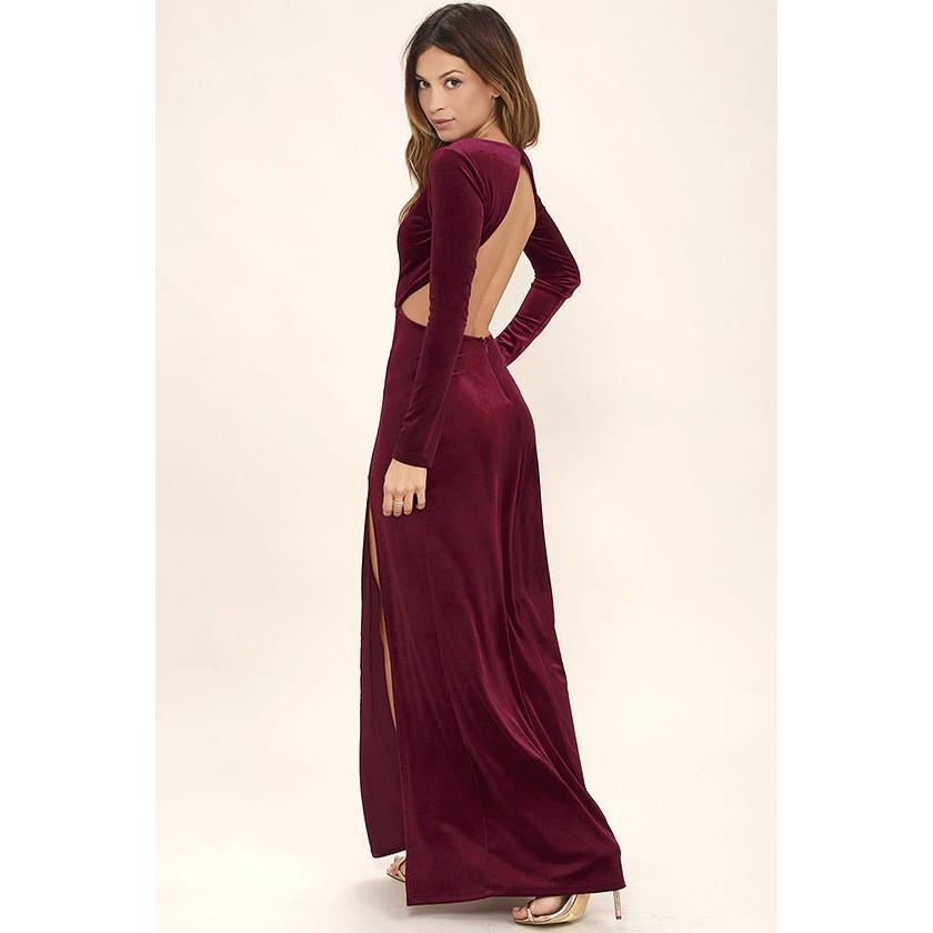 Besame Burgundy Velvet Long Sleeve Maxi Dress 30cc2a3a2