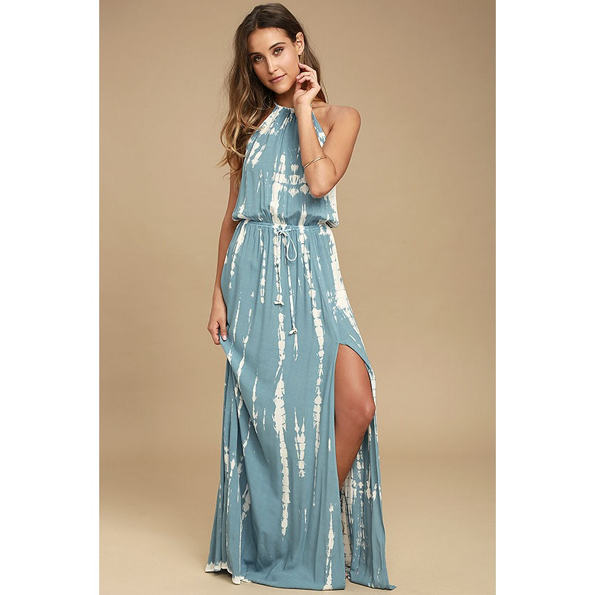 In A Daydream Blue And White Tie Dye Maxi Dress
