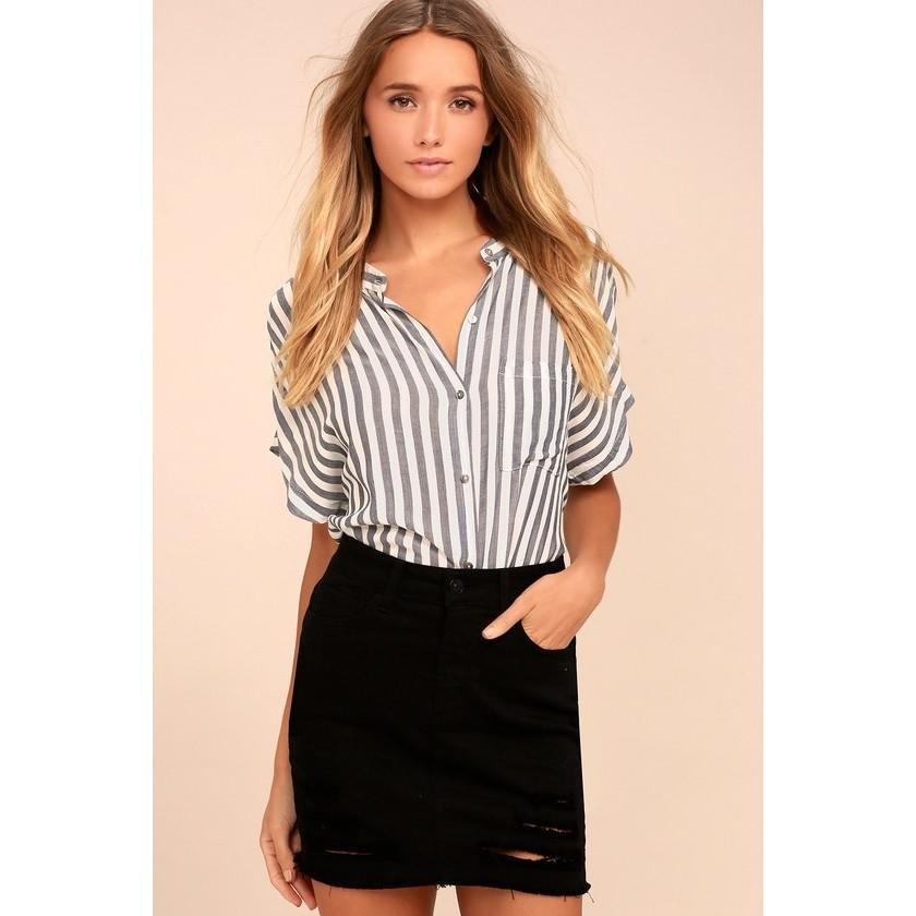 de4205713f6 Mini Oh My Black Distressed Denim Mini Skirt