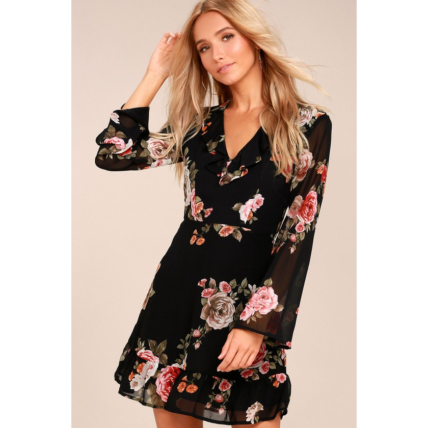 Alive With Artistry Black Floral Print Long Sleeve Dress