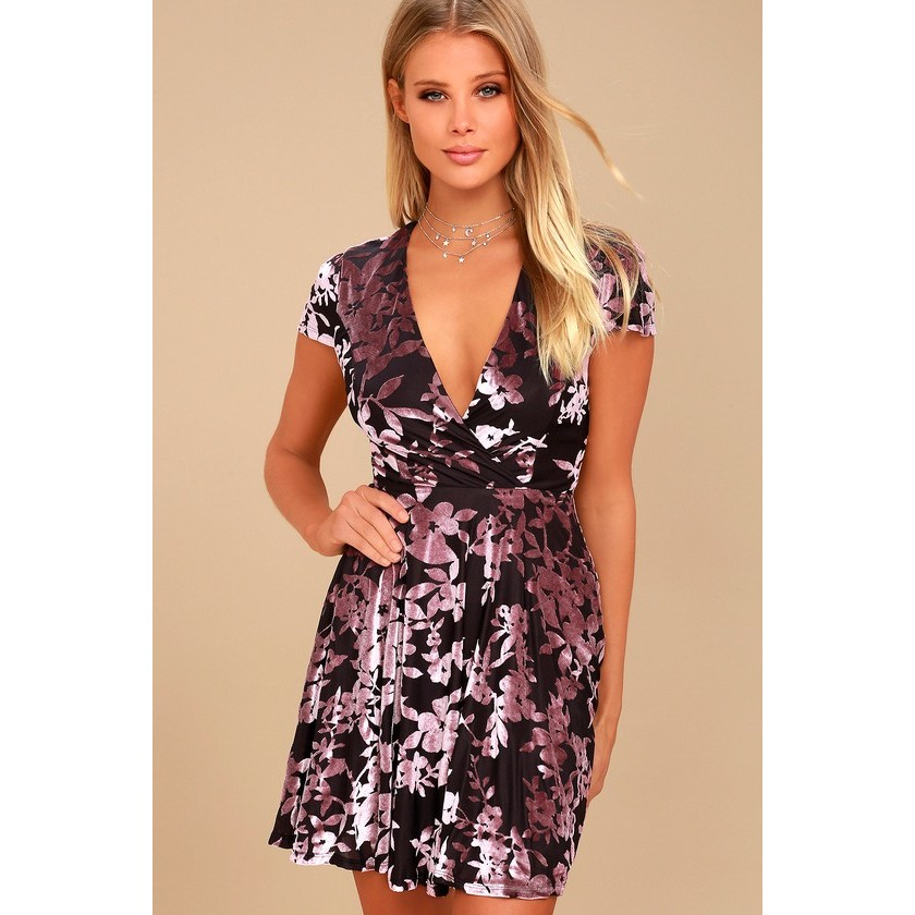 f7882c3aee9f Emiree Plum Purple and Mauve Velvet Floral Print Skater Dress