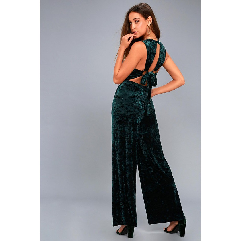 6acf89481dd Bonbon Forest Green Velvet Backless Wide-Leg Jumpsuit