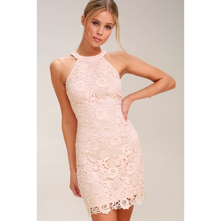 2c7f5bda833 Love Poem Blush Pink Lace Dress - Lulus