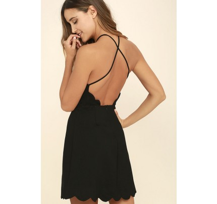 eb98353479 Your Everything Black Backless Skater Dress
