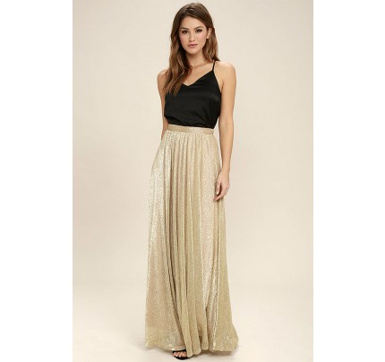 Jovial Occasion Gold Maxi Skirt