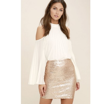 Love Me Now Matte Rose Gold Sequin Mini Skirt