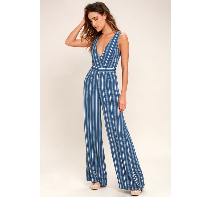 22101513dd96 Montauk Yacht Club Blue and White Striped Jumpsuit - Lulus