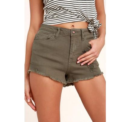 Echo Park Olive Green Distressed Denim Shorts