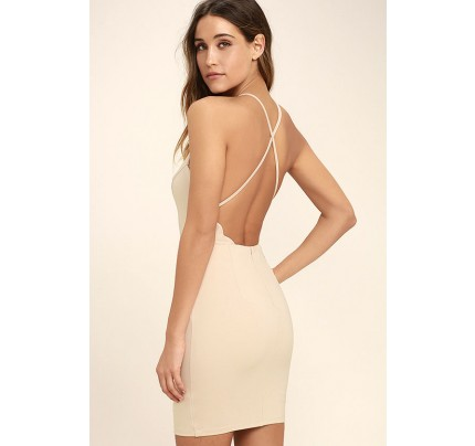 Heart's Content Beige Bodycon Dress