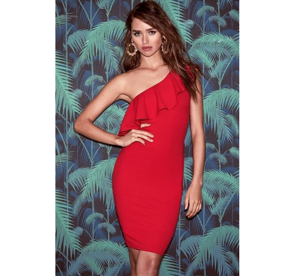 Life is But a Dream Red One-Shoulder Bodycon Dress
