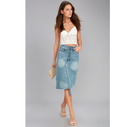 Darling Medium Wash Cutoff Denim Midi Skirt