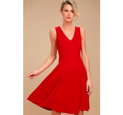 Hello World Red Midi Dress