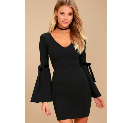 Once in a While Black Bell Sleeve Bodycon Dress