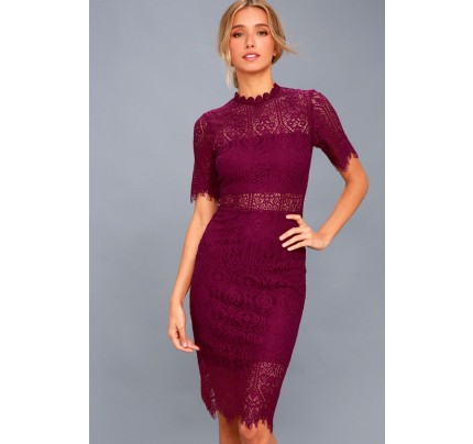 Remarkable Burgundy Lace Dress