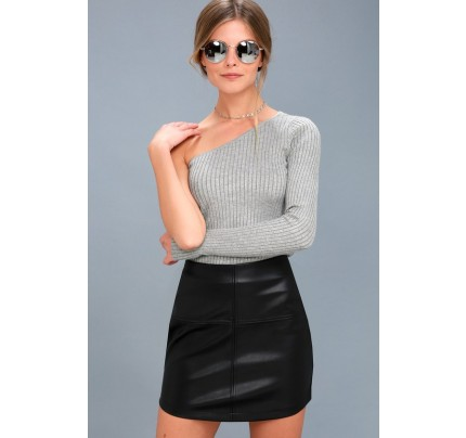 Pop Star Black Vegan Leather Mini Skirt - Lulus