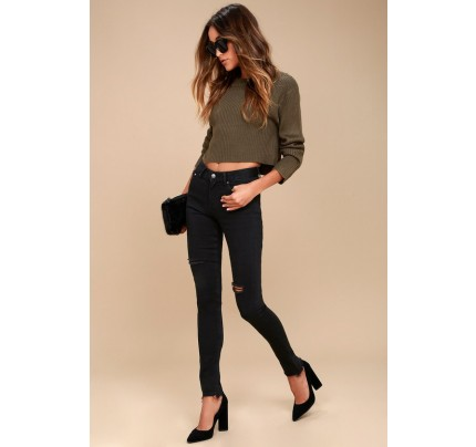 Solana Black Distressed Skinny Jeans - Lulus
